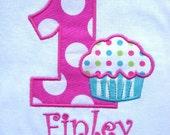 Girls' Birthday Cupcake Long Sleeve Onesie