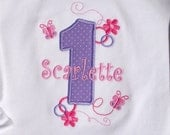 Girls' Birthday Lavender and Pink Butterflies Accents T-Shirt or Bodysuit