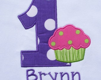 Girls' Birthday Purple and Hot Pink Cupcake T Shirt or Bodysuit