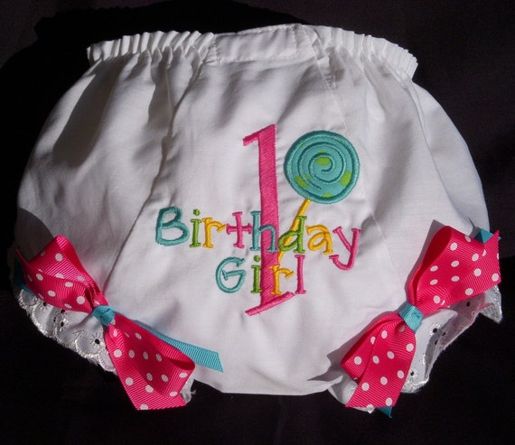 Personalized Birthday Colorful Lollipop  Diaper Cover