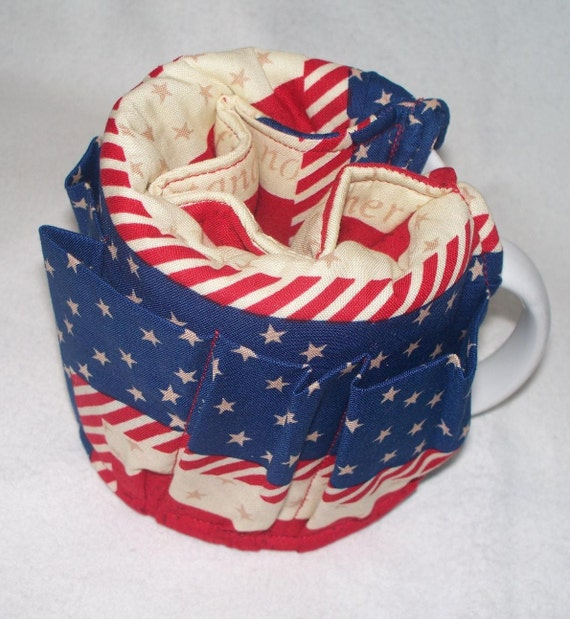 American Flag Coffee Cup or Mug Wrap, Organizer, Caddy, Red, White and Blue Patriotic