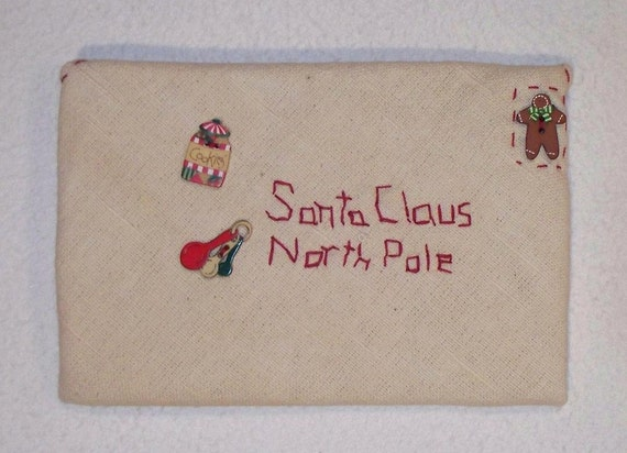 Homespun Letter to Santa Cloth Envelope