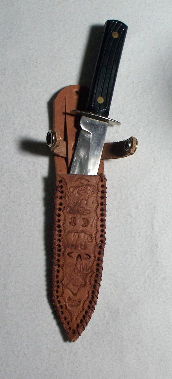 Leather Knife Sheath, Hand Stamped and Hand Stitched.