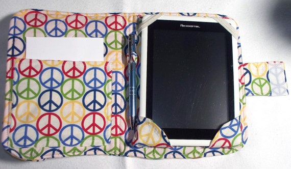 Quilted, Peace Sign, Android Tablet Holder Cover, E-Reader, I Pad Mini, Kindle
