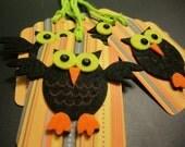 Whimsical Halloween OWL Gift Tags - Set of 4