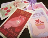 Vintage Valentines, Set of 6 Gift Tags, Favor Bag Tags, Valentine's Day Party, Handmade