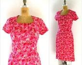 vintage 1950s dress DUBARRY wiggle magenta rose gathered chiffon small s medium m