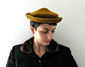 ON HOLD for Sara vintage 1940s hat KNIT pointy beaded mustard cap curry spice