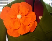 Orange felt flower brooch