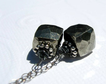 Golden Pyrite in Oxidized Sterling Silver