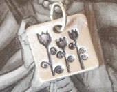 Fine Silver Blooming Tulips Pendant