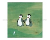 Meeting Our Neighbours - art print featuring penguins