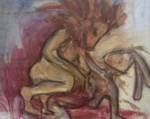 The Kill - original oil and charcoal painting