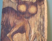 A is for Aye Aye - original oil painting on reclaimed wood