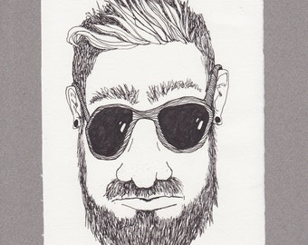 Shane 8 x 5 1/2 original ink drawing