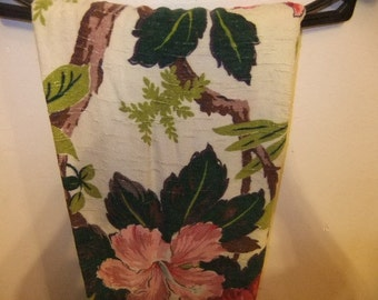 Nubby  Floral Barkcloth Fabric Panel 8 Feet long