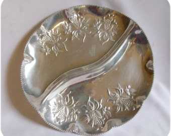 Vintage Embossed Aluminum Divided Serving Dish Tray