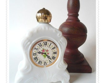 Vintage White Milk Glass CLOCK FACE Bottle Avon Bath Oil - Unused - With Box - Shabby French Provincial Gold