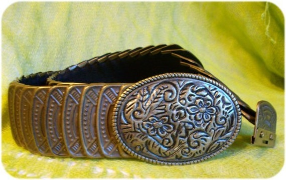 Antique Bronze Metal Stretch Plates Belt / BOHO Steampunk / Fish Scale Elastic/  Cinch Hips or Waist