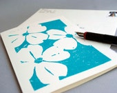 Dogwood Blank Notecard - Turquoise Blue Floral Linocut Print - 5 x 7 inches