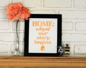 Yellow Block Print- Home : Where Our Story Begins Linocut Print
