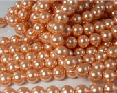 Glass Pearl Beads, Peach pearls, Big Pearl beads, Large beads, Large Pearls. 12mm bead, 16 inch  strand
