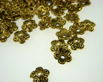 gold plated ,  bead caps, pewter base metal  8-10mm  26pcs