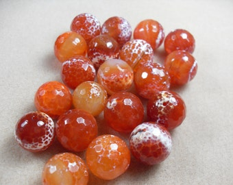 Carnelian Faceted Round Bead, Heat Treated, Fire Scaled, Dragon Scale Agate, 18mm 6 pcs