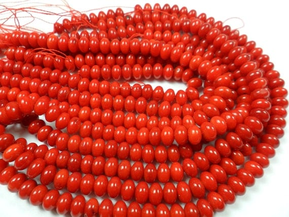 Red Coral Spacer Beads,  Saucer cut, Spacer Beads, Red Beads 2.5x4.4mm   4 inches    40PCS