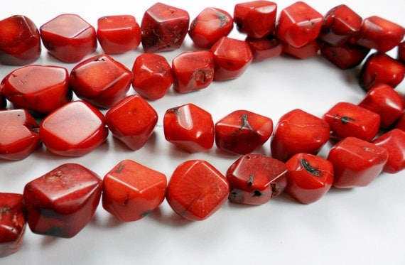 Red Coral Beads,Chunky Beads,Hexagonal shape,  16x17mm 9pcs