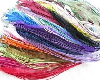 50 Silk Ribbon/Cord Necklaces for Bottle Cap or Scrabble Tile Pendants