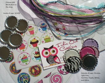 20 COMPLETE Bottle Cap Pendant DIY Kit: Flattened Pendants (in 4 color options), Epoxy Stickers and Necklaces