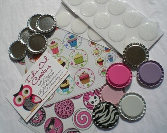 Bottle Cap DIY KIT  -- 100 Flattenned Bottle Caps (in 6 Assorted colors) plus 100 Epoxy Stickers (Clear & Glitter - Any Combination)