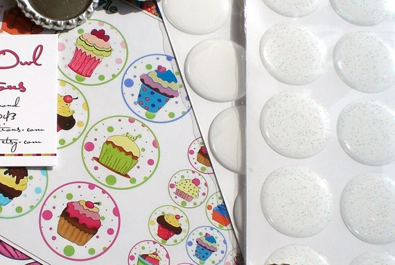100 3D Epoxy Stickers (Premium POLYURETHANE) for Bottle Cap Crafts - CLEAR or GLITTER