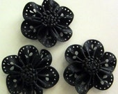 Black Handmade Rosette Leather Flower Appliques - 3 Pieces