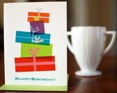 Tower of Gifts Birthday Card - Mod & Colorful Boxes and Bows on 100% Recycled Paper