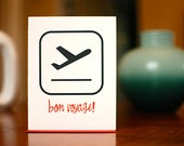 Bon Voyage - Departing Airplane Pictograph Card on 100% Recycled Paper
