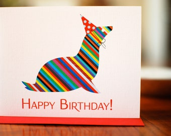 Rainbow Striped Seal in Party Hat Birthday Card on 100% Recycled Paper