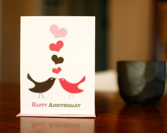 Love, Tweet Love - Happy Anniversary Birds Card on 100% Recycled Paper