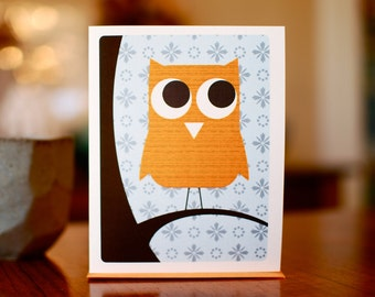 Owl Be Watching You - Tangerine Orange and Blue Blank Card on 100% Recycled Paper