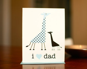 I Heart Dad - Baby & Papa Giraffes New Baby Card on 100% Recycled Paper