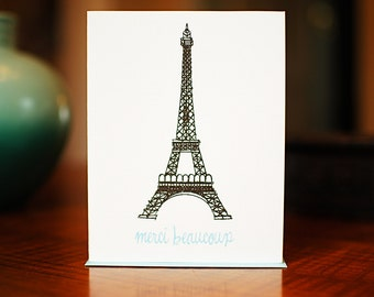 Merci Beaucoup Eiffel Tower Set of 10 Thank You Cards on 100% Recycled Paper