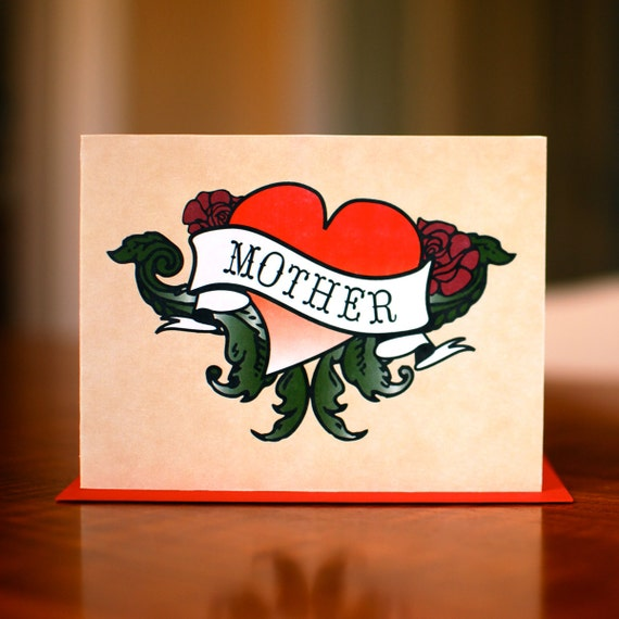 Badass Mother Heart Tattoo New Baby or Mom's Birthday Card on 100% Recycled Paper