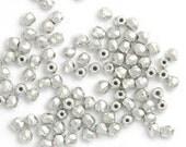 2mm Sterling plated Czech glass Fire polish beads
