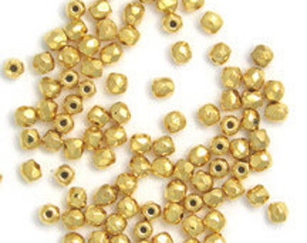 2mm 24kt gold plated Czech glass Fire polish beads