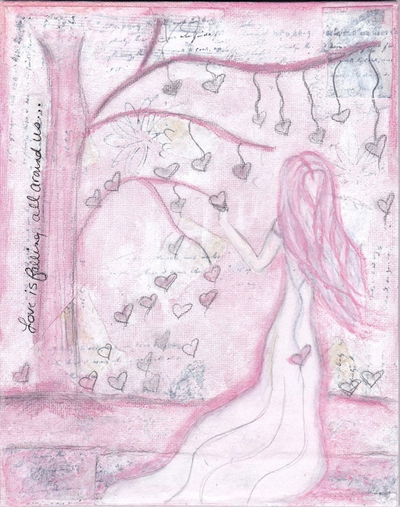"""Original Whimsical Mixed Media Painting, Canvas Board  'Love Is"""""""