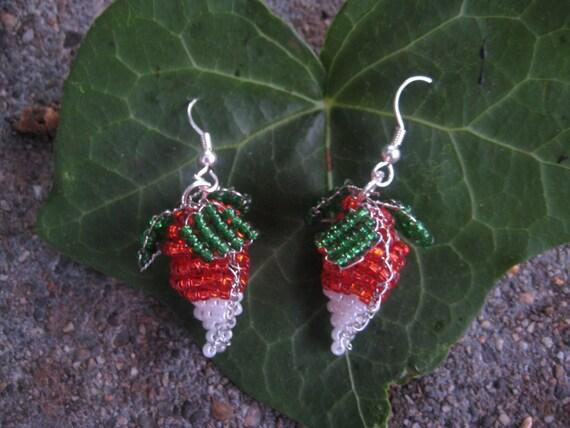 Hand-Beaded Luna Lovegood Radish Earrings