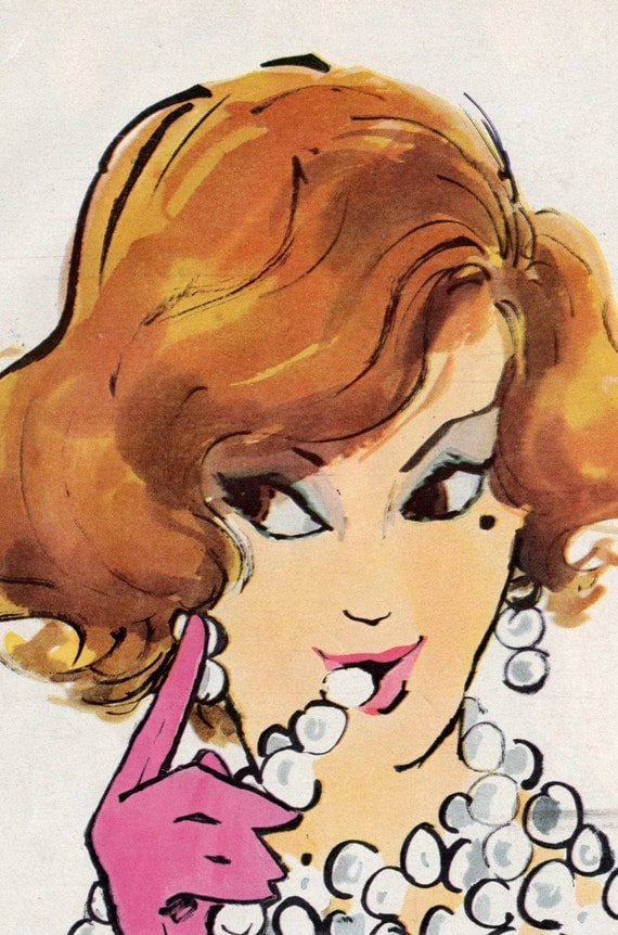 1960 Ad Tussy Advertising Lady with Pearls Red Hair Pink Gloves