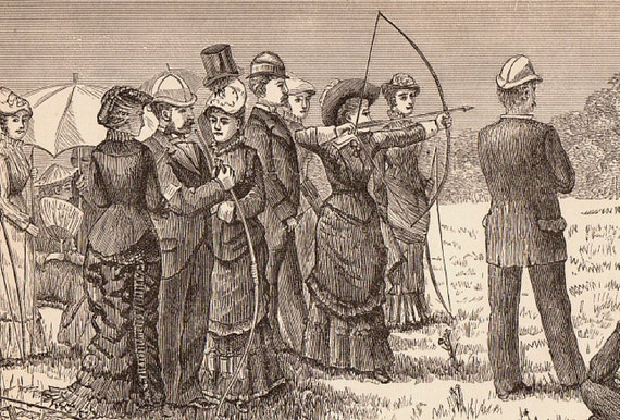 Early Art Print From Late 1800 S Archery Practice Lady