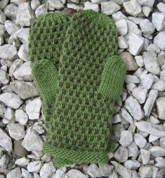 GREEN/BROWN Knit Wool Mittens - Green Textured